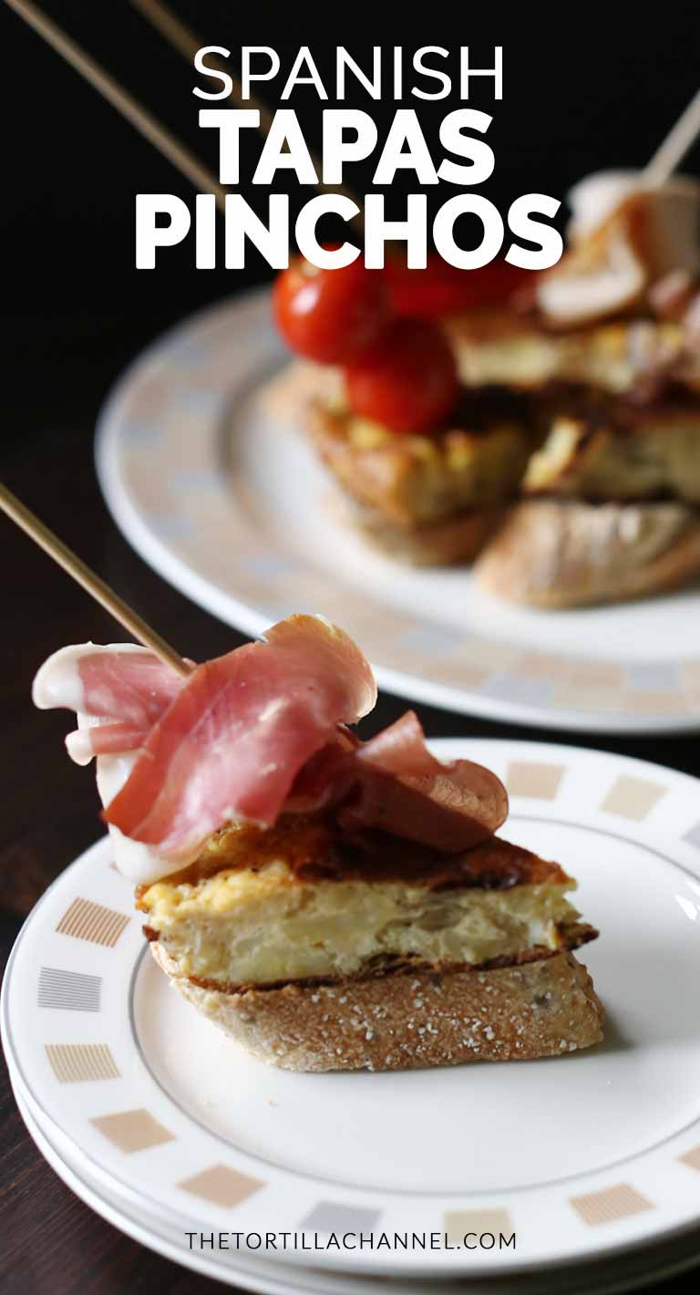 Spanish tapas pinchos made with Spanish tortilla and delicious meats that turns this into a pinchos #thetortillachannel #tapas #pinchos #easypinchos