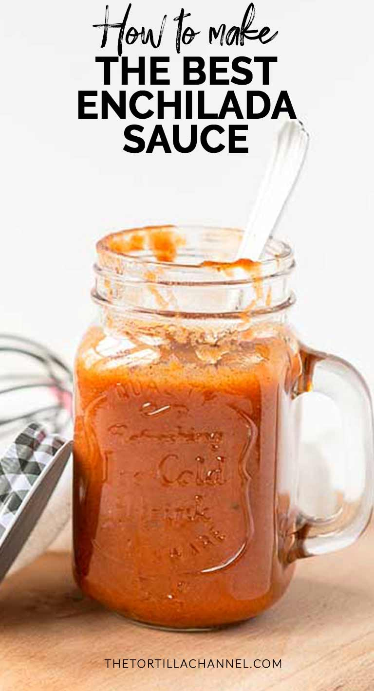 How to make the best enchilada sauce for your enchiladas recipes. It is a vegan dairy free sauce but still light and creamy. Visit thetortillachannel.com for the full recipe and video. #thetortillachannel #enchiladasauce #veganenchiladasauce #enchilada #vegansauce