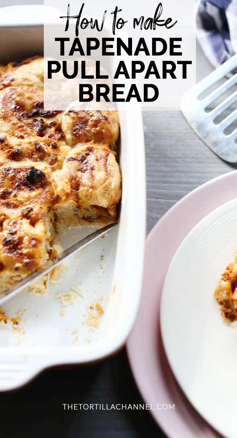 Easy pull apart bread recipe. This tapenade break bread is great to eat as an appetizer or side dish. Made with homemade tapenade. Visit thetortillachannel.com #thetortillachannel #breadrecipe #breakbread #pullapartbread #appetizer #sidedish #starter