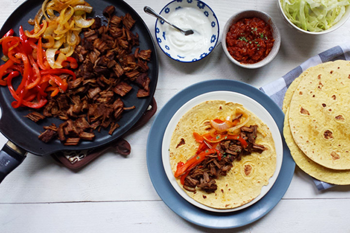 Shredded tender brisket beef fajitas