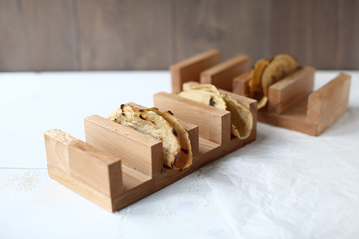 Wooden taco holder with tacos