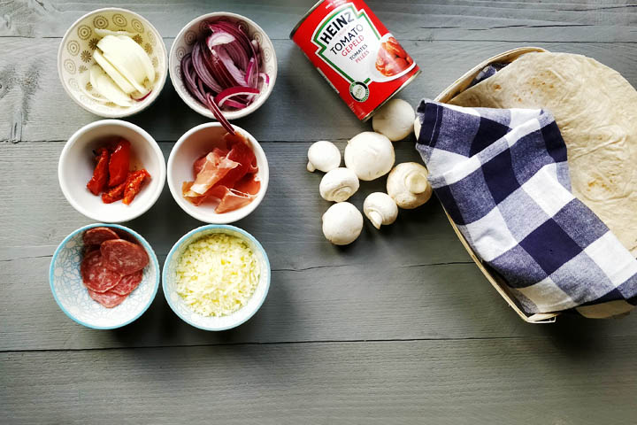 Extra crisp bar style tortilla pizza ingredients