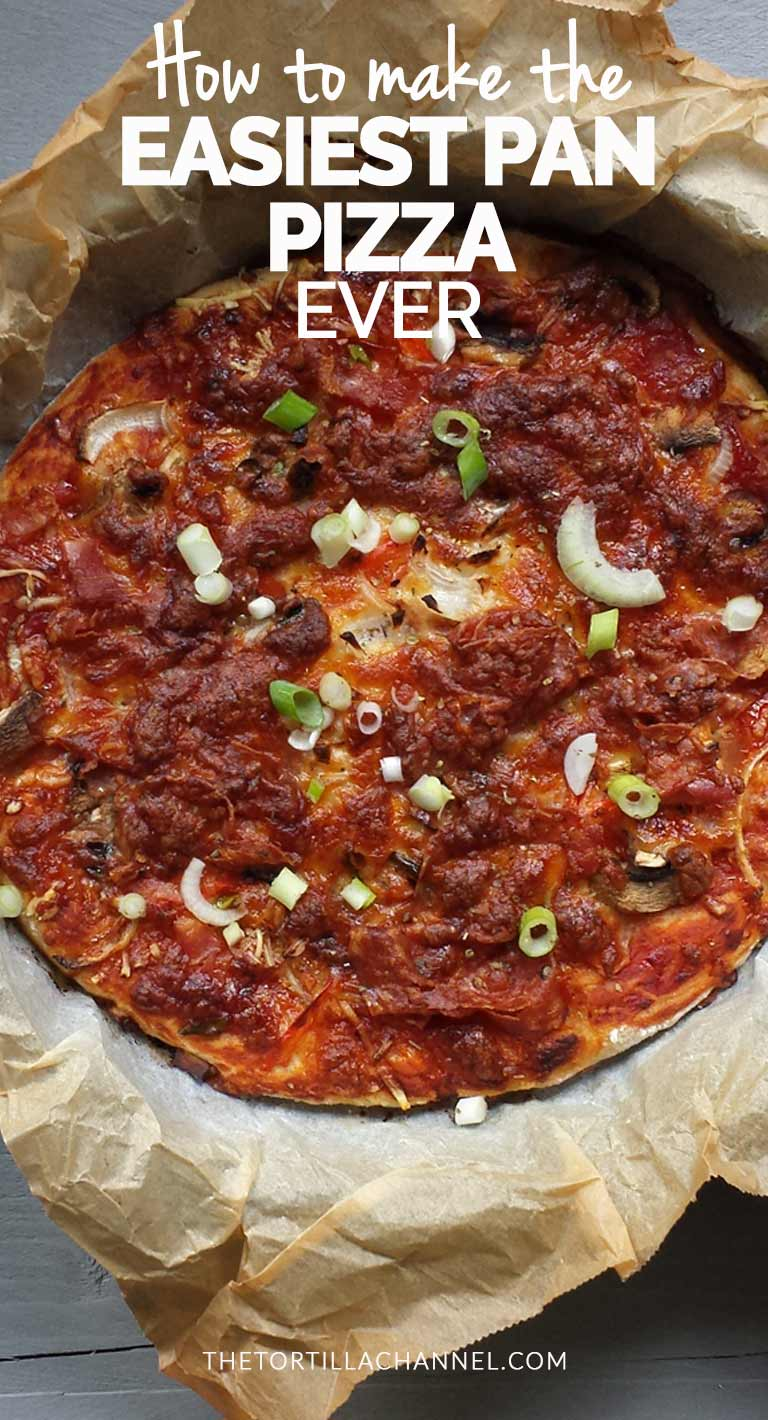 Easiest pan pizza made with no knead dough, tomato sauce and lots of cheese. Visit thetortillachannel.com for the instructions and video. #thetortillachannel #panpizza #nokneadpizzadough #easiestpanpizza #pizza #pizzarecipe