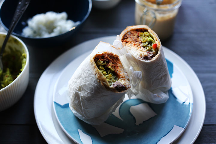 Tempting vegan tempeh burrito above