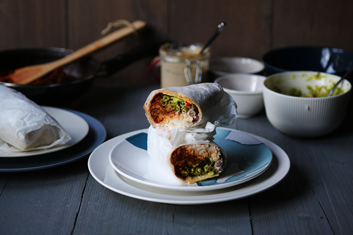 Tempting vegan tempeh burrito side