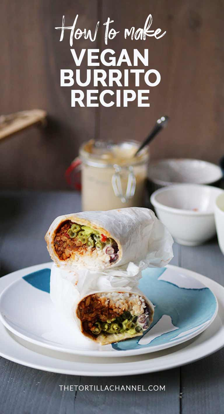 Vegan burrito recipe is made with tempeh and an easy and super delicious dinner. Visit thetortillachannel.com #thetortillachannel #veganburritorecipe #veganburrito #burrito