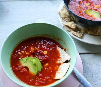 Super easy tortilla soup overhead II