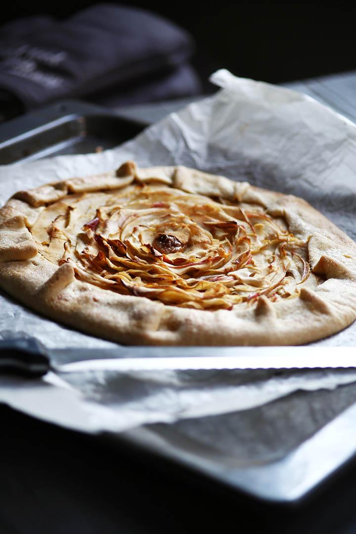 Sweet organic applie pie galette portrait right