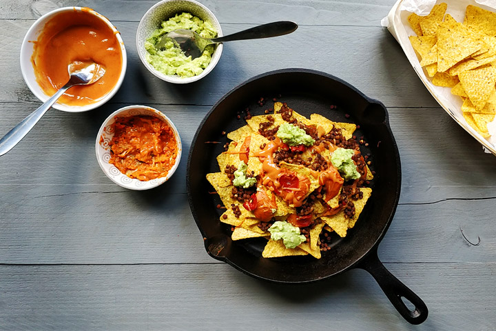The ultimate vegan lentils nachos overhead