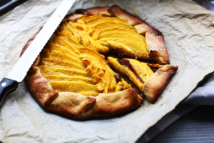Mango nutty nutella pie galette slice