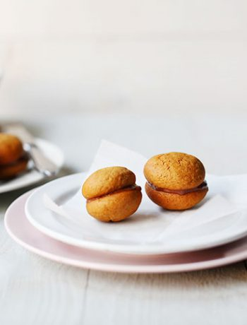 homemade nutella macarons side on plate