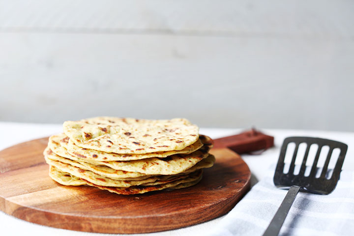 Soft garlic herbs chickpea flatbread stack