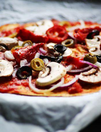 Vegan vegetable double tortilla pizza whole