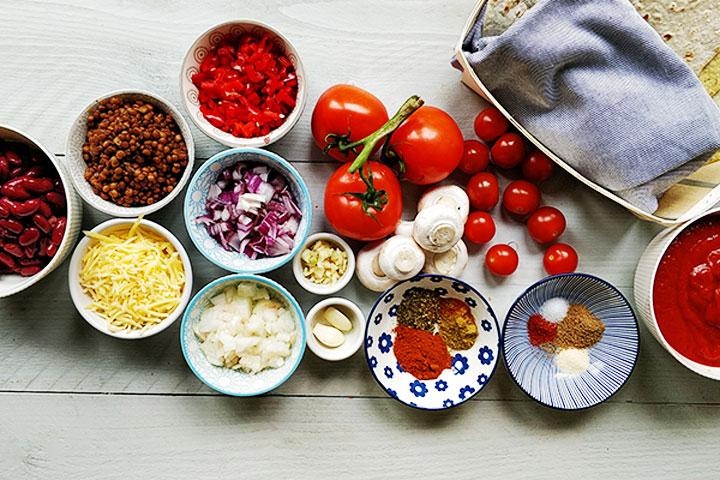 Vegetarian Tex-mex tortilla lasagna ingredients