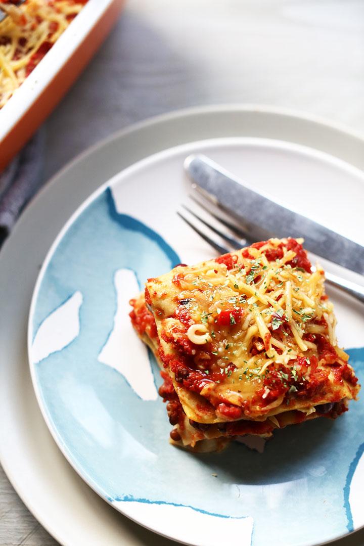 Vegetarian Tex-mex tortilla lasagna slice overhead