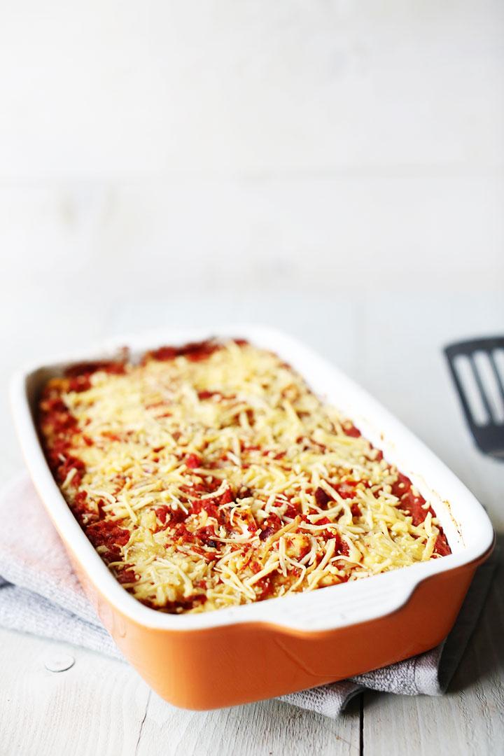 Vegetarian Tex-mex tortilla lasagna portrait