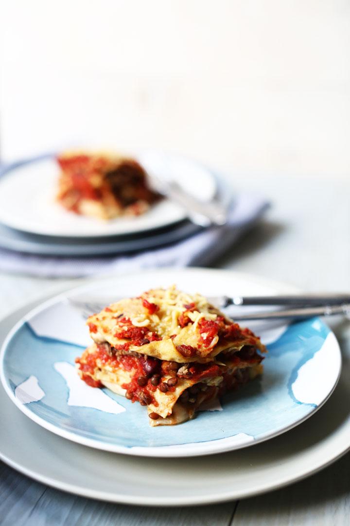 Vegetarian Tex-mex tortilla lasagna slice