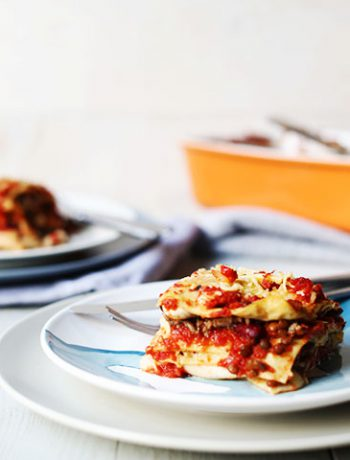 Vegetarian Tex-mex tortilla lasagna slice side