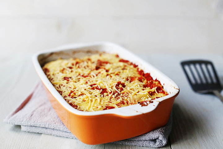 Vegetarian Tex-mex tortilla lasagna side