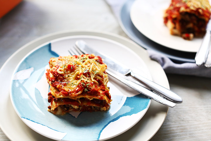 Vegetarian Tex-mex tortilla lasagna overhead