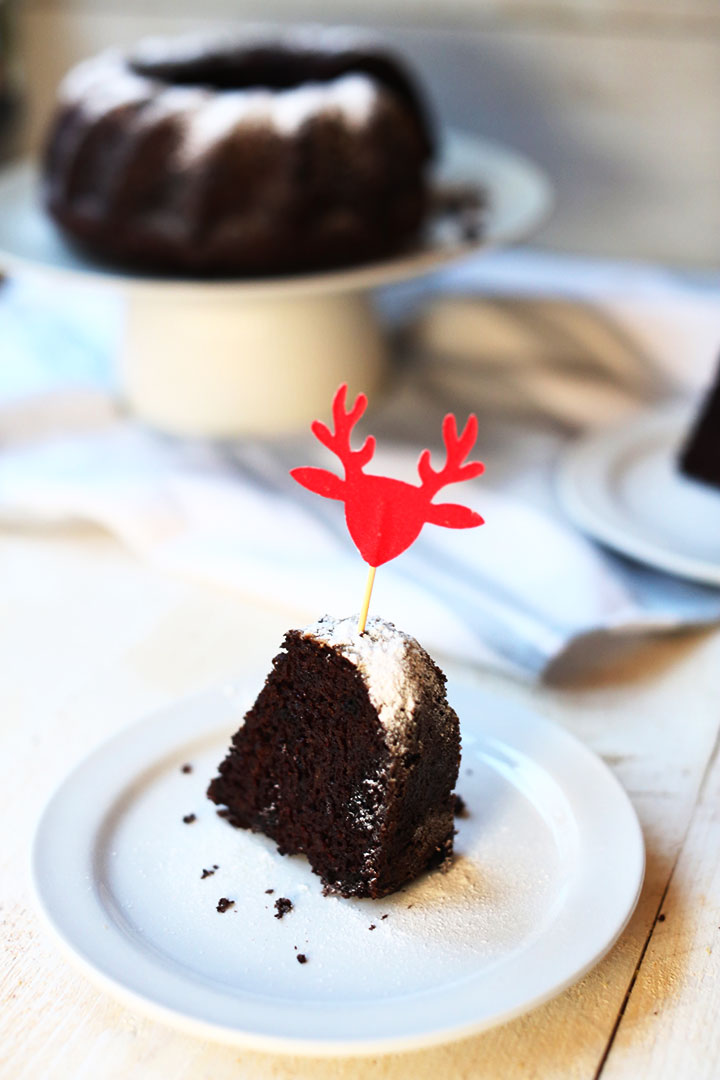 Chocolate Christmas Oreo bundt cake portrait slice