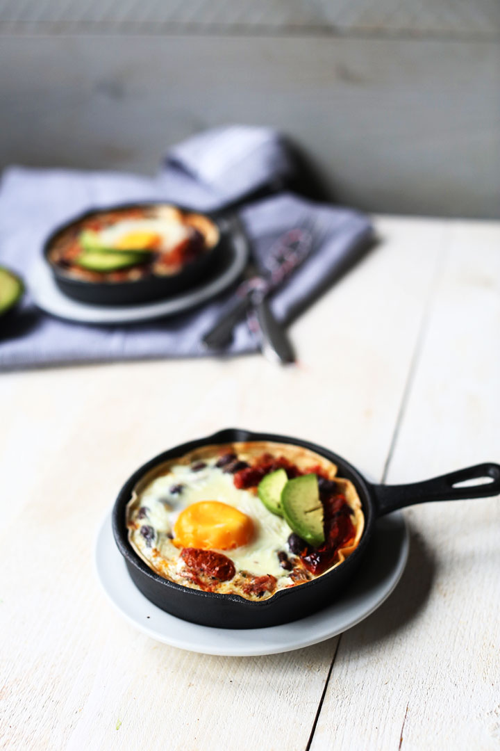 Easy tortilla huevos rancheros portrait one skillet