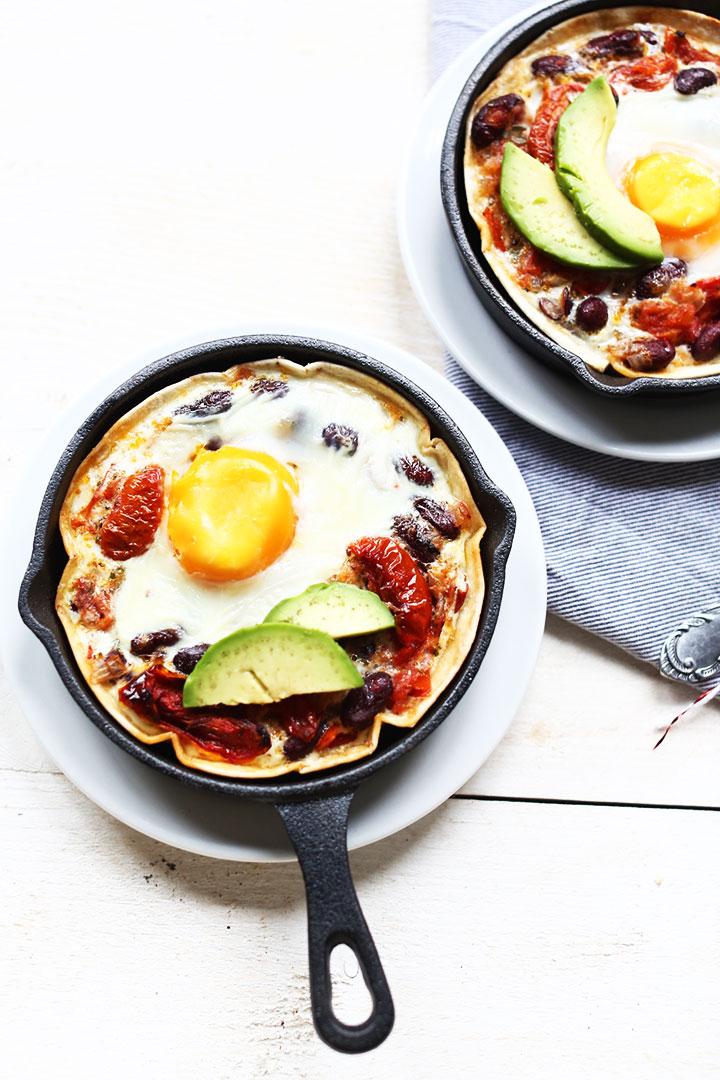 Easy tortilla huevos rancheros two skillets overhead