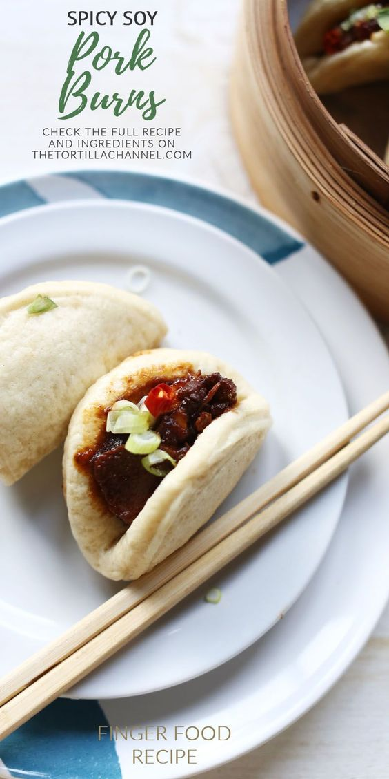 Spicy soy pork with Chinese steamed buns. These Bao zi buns are real finger food in Asia.