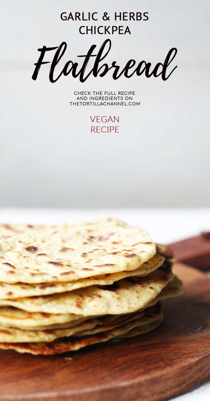 Garlic and herbs chickpea flatbread is a vegan flatbread. Made with wheat flour, chickpea flour, garlic and herbs. Easy to make recipe. Visit the website for the a video instruction.