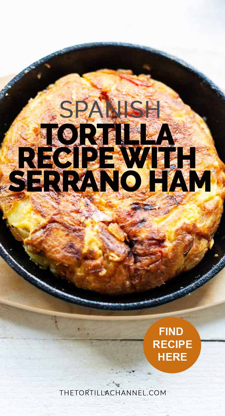 The spanish tortilla recipe with jamon is a great appetizer, snack and tapas. Make it for your dinner parties or lunch #thetortillachannel #spanishtortilla #spanishtortillawithham #spanishtortillawithjamon #spanishtortillaconjamon