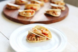 Mini party tacos shrimp on a plate