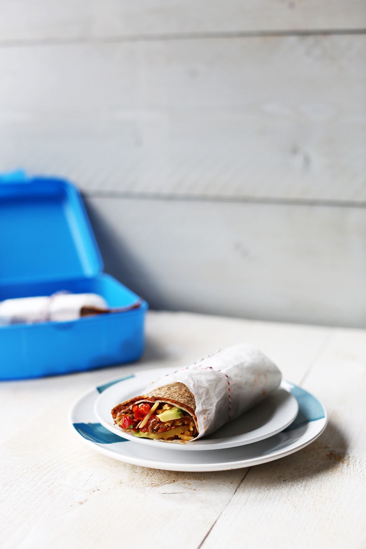 healthy kids lunchbox smart wrap with lots of veggies. Visit thetortillachannel.com for the full recipe or pin it now so you can use it later.