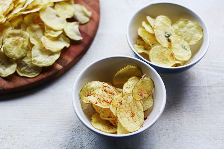 Easy to make crisp natural no fat potato chips in a bowl