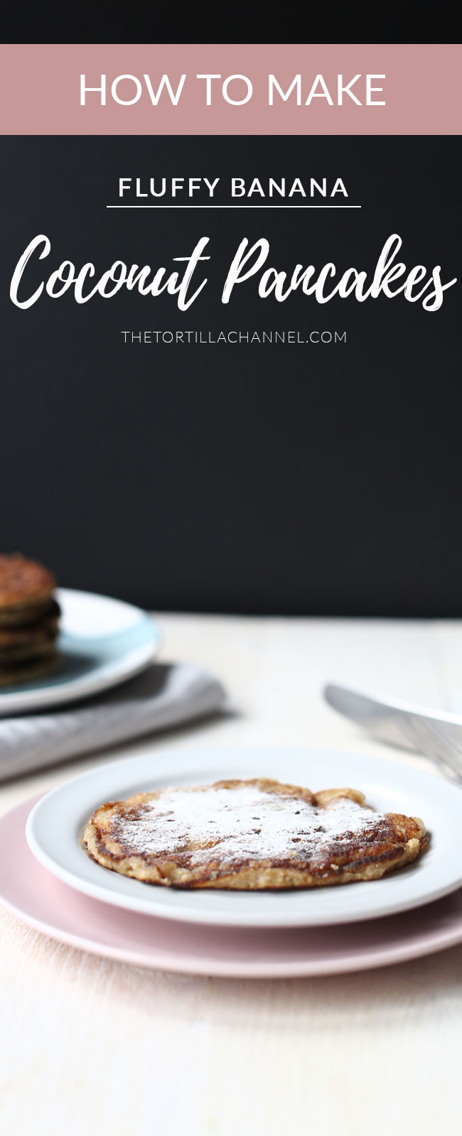 Fluffy banana coconut pancakes with icing sugar on a plate