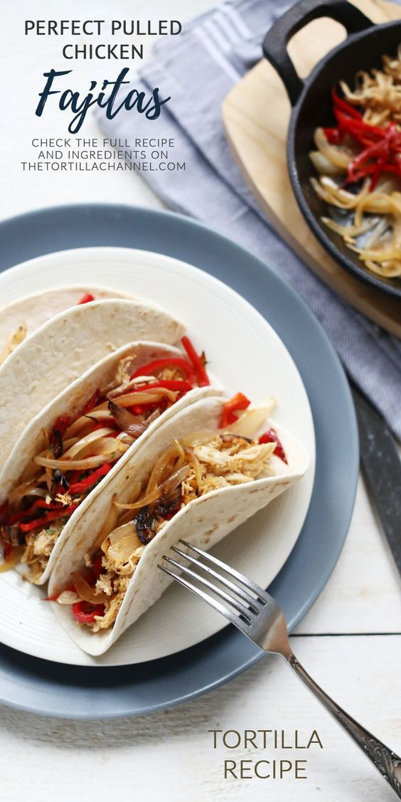 Easy pulled chicken fajitas. An easy recipe with some hot spices and vegetables. Visit the website or pin it now so you can use it later. #fajitas