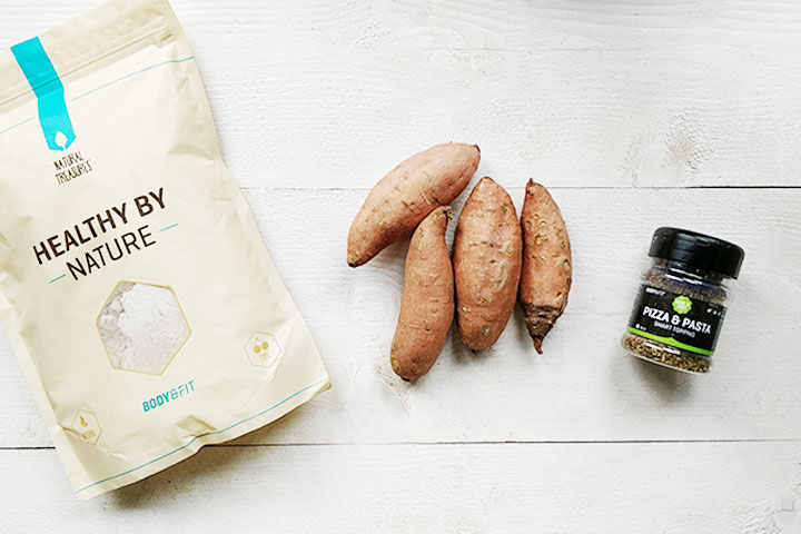 Soft sweet potato flatbread ingredients with spelt flour, herbs and no oil.