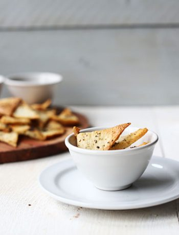 Delicious homemade pita chips overhead. Great snack that is easy to make.