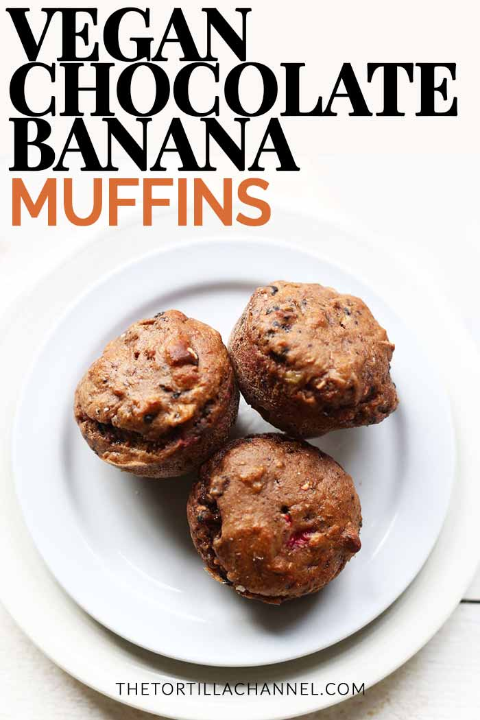 Vegan chocolate banana muffins are the best muffins made with aquafaba, chocolate powder, protein, raspberry, pecan and aquafaba. Get fluffy muffin recipes visit thetortillachannel.com. Video included #veganmuffin #veganmuffins #veganmuffinrecipe #veganchocolatemuffins #raspberrymuffins