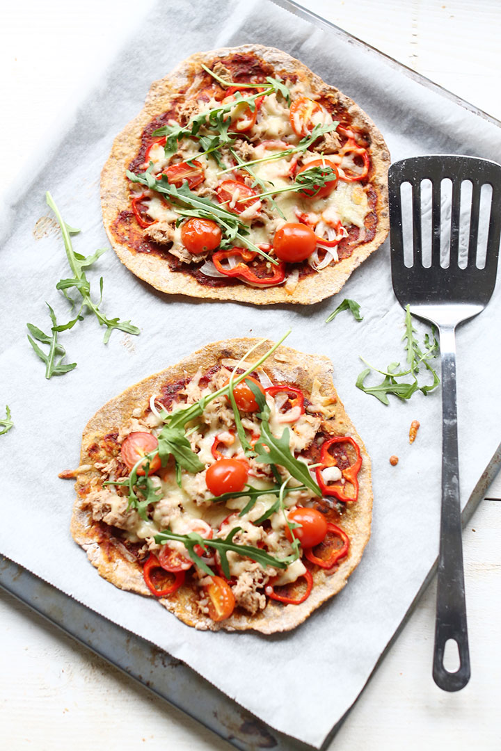 Easy sweet potato tuna pizza crust flatbread recipe. Showing what you can do with sweet potato flatbread.