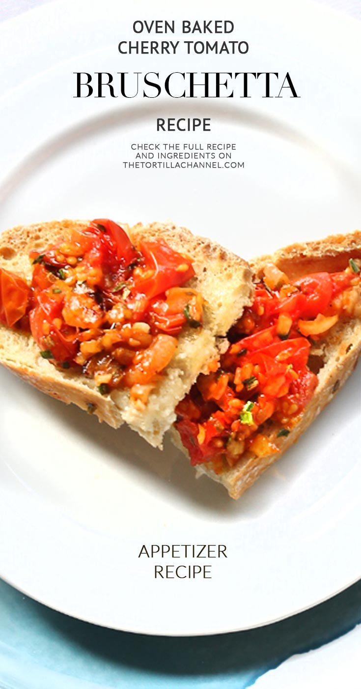 Oven roasted tomato bruschetta is an easy appetizer made with no knead bread. Visit thetortillachannel.com for the (video) instruction.