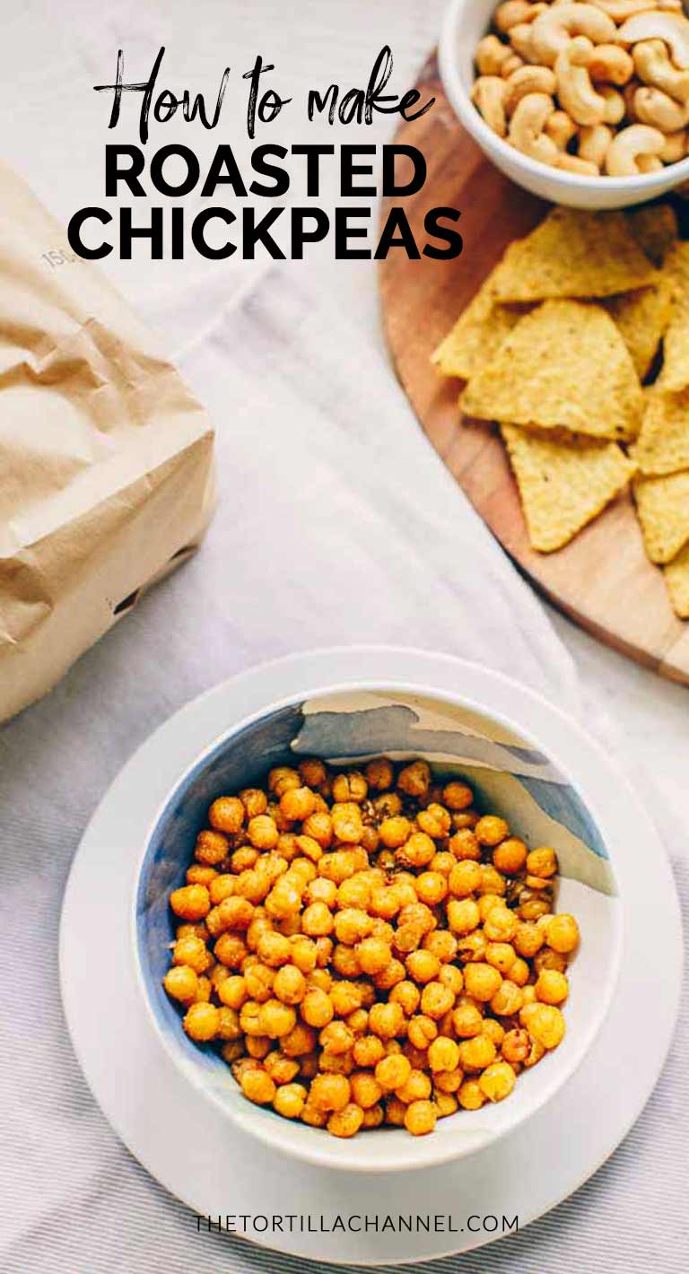 Roasted chickpeas are a healthy snack. Can be made with canned or dried chickpeas. This crunchy snack is oven baked and seasoned with your favorite spices. Try it! Visit thetortillachannel.com for the full recipe and video! #thetortillachannel #roastedchickpeas #chickpeasnack #easychickpeasnack #spicyroastedchickpeas