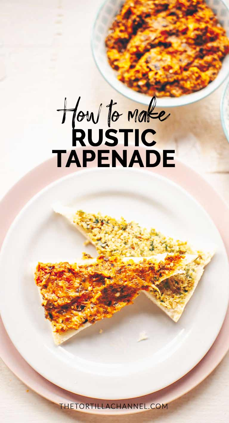 Tapenade recipe to make green olive tapenade and red sun dried tomato tapenade. A great appetizer or snack that you can eat with homemade crackers, bread or toast. Visit thetortillachannel.com #thetortillachannel #tapenade #tapenaderecipe #greentapenade #redtapenade