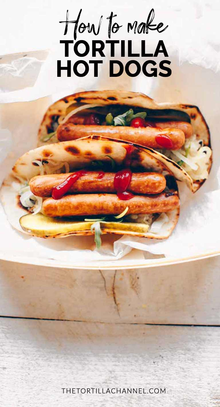 Try these tortilla hot dog a perfect lunch or snack. Dress it up with hot dogs, sauerkraut, pickle, mustard and onions. Visit the tortillachannel.com for the full recipe and video. #thetortillachannel #easyhotdog #tortillahotdog #hotdog #hotdogrecipe