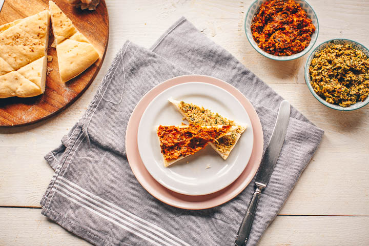 Rustic olive and sun-dried tomato tapenade. Two delicious tapenades.