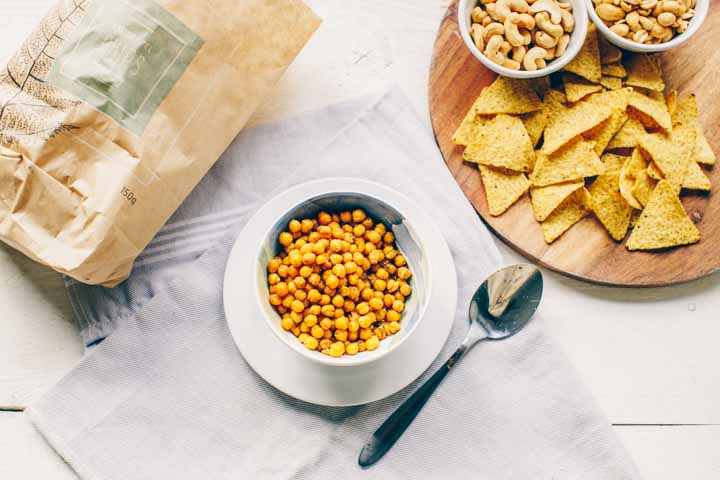 Roasted spicy chickpeas snack is easy to make. A great chickpea snack.