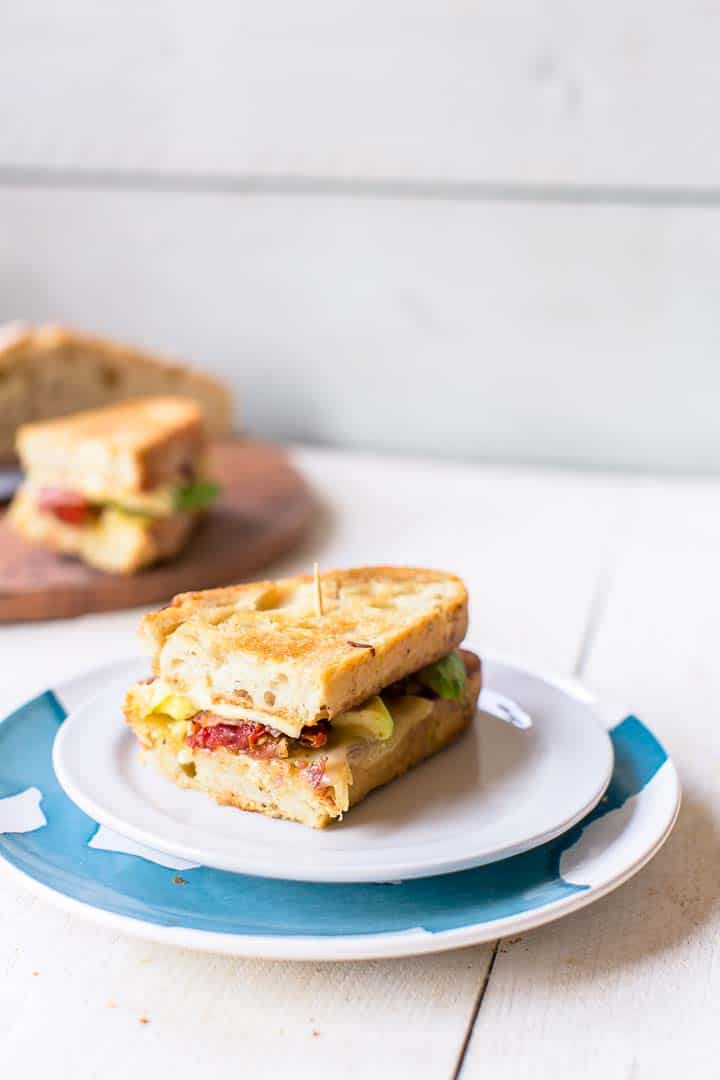 Grilled cheese bacon avocado sandwich made from no knead bread. Delicious and super easy. Visit thetortillachannel.com for the ingredients and step by step instructions.