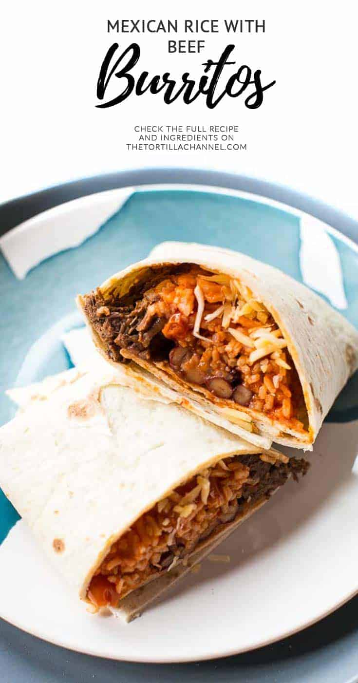 Soft shredded beef burritos with Mexican rice and beans, wrapped in a big tortilla. Visit thetortillachannel.com for the (video) instructions. #tortillarecipes
