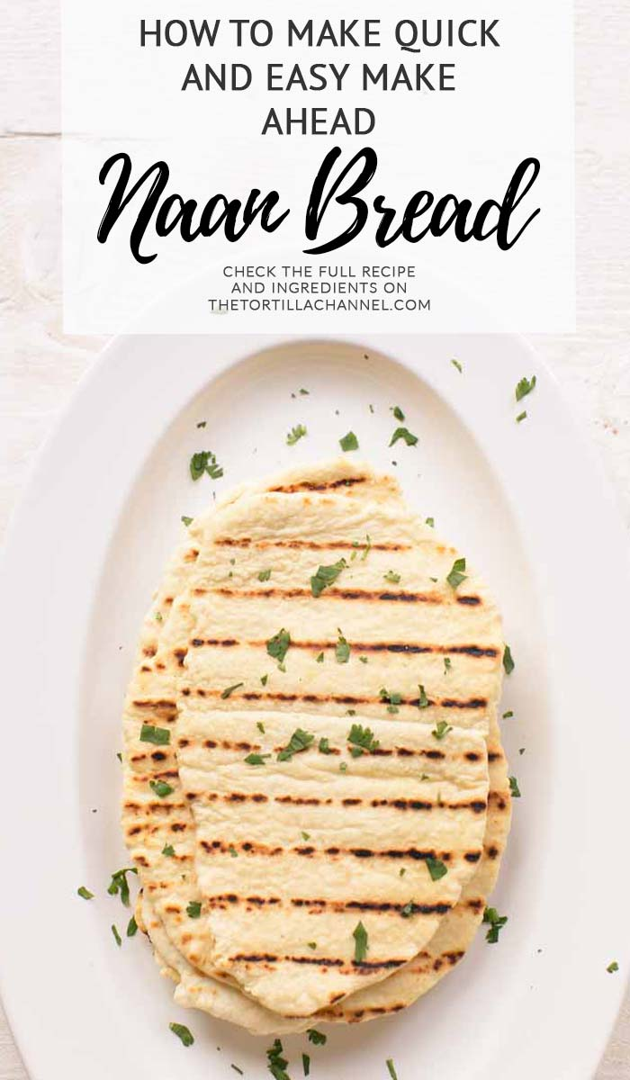 Easy naan bread recipe made with 5 ingredients. Quick and easy no yeast naan bread is done in no time. Visit thetortillachannel.com for the (video) instructions. #thetortillachannel #naanbread #easynaanbread #noyeastnaan