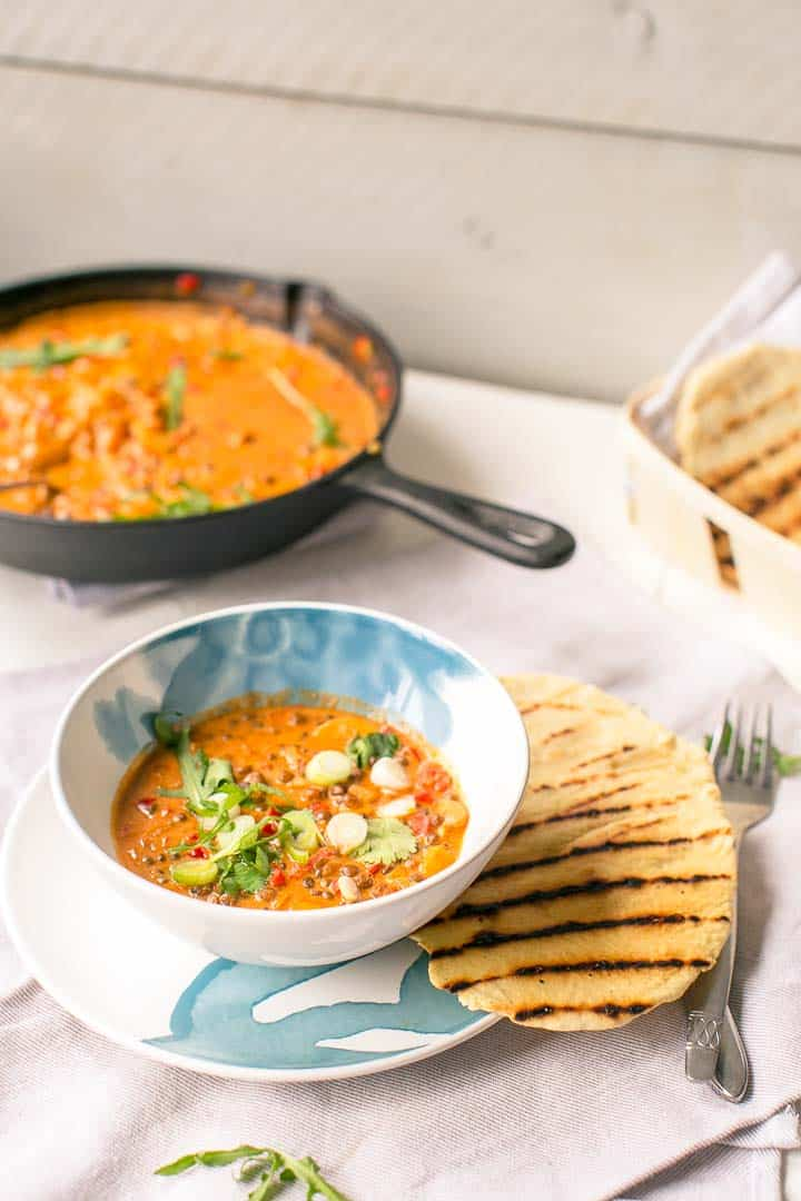 Vegan lentil mushroom curry with some naan, flatbread or a tortilla. A great dish. Visit thetortillachannel.com for the instructions and video.