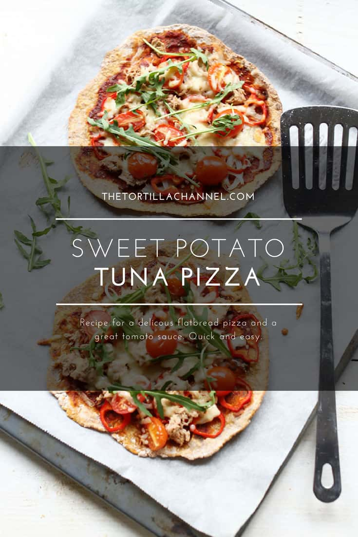 Sweet potato tuna pizza is a great flatbread pizza recipe for weeknights or a lunch snack. Visit thetortillachannel.com for the instructions and video. #flatbreadpizza #pizza #tunapizza #sweetpotato